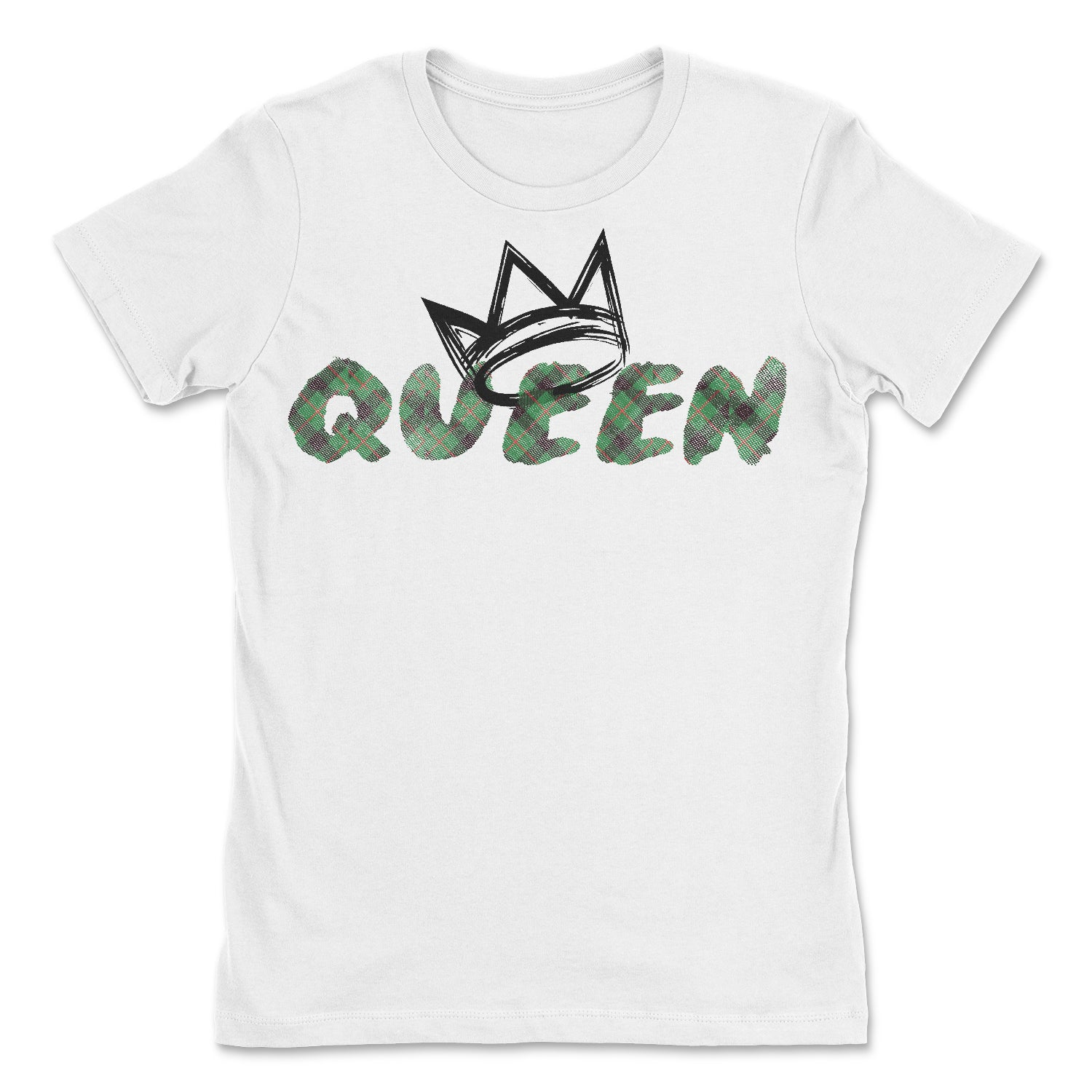 Queen Green Madras Short Sleeve T-Shirt