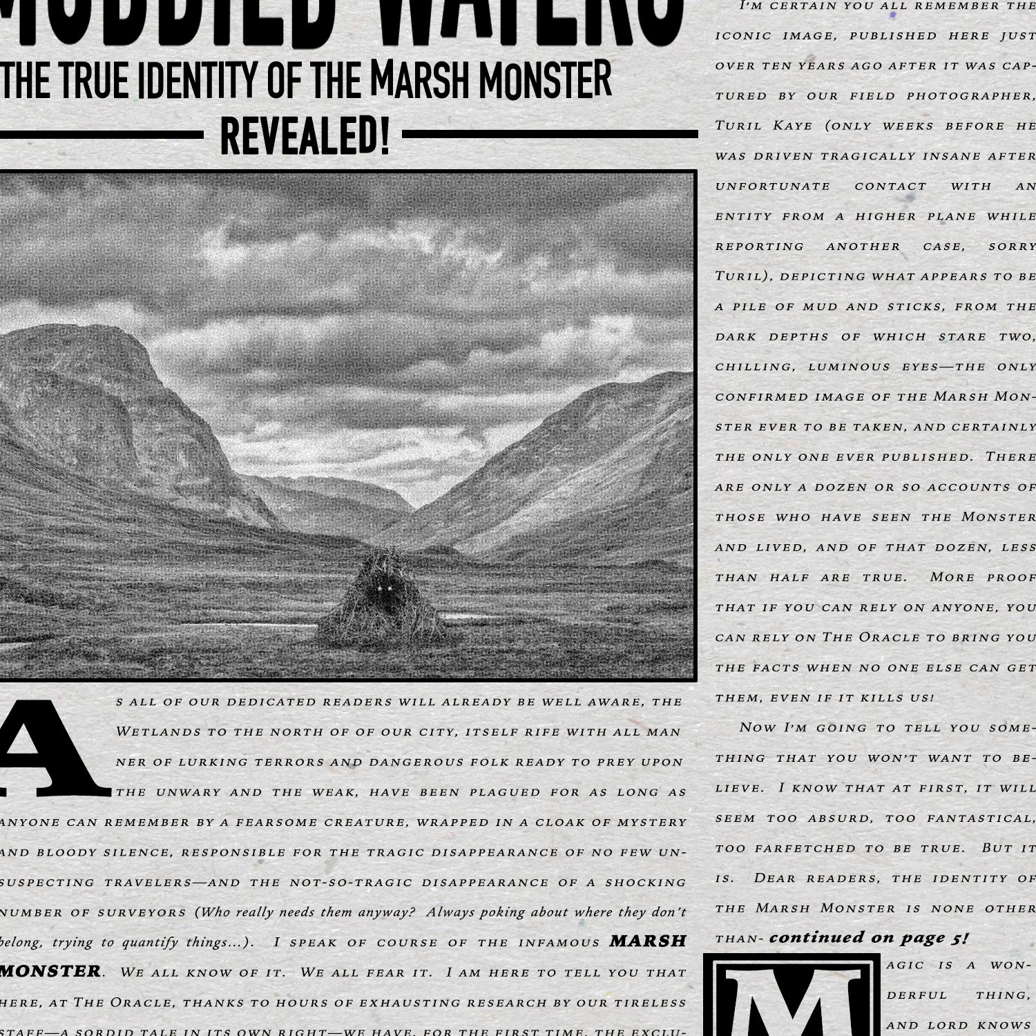 The Oracle Newspaper, headline Muddied Waters, the truth about the marsh monster