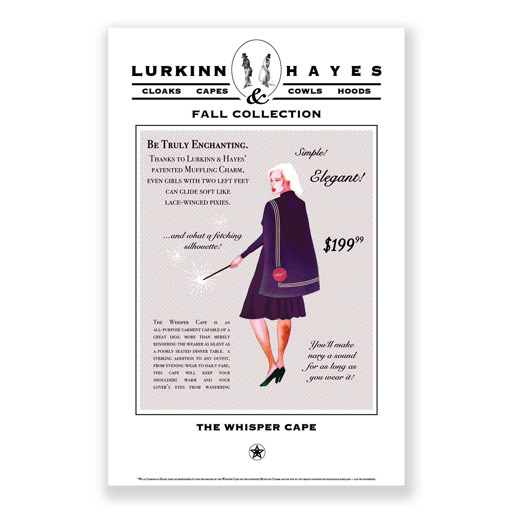 Advertisement for the Lurkinn and Hayes Whisper Cape, which keeps the wearer silent and looks good doing it!