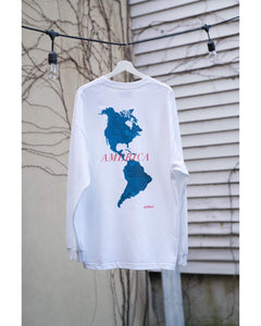 """AMERICA"" Long Sleeve T-shirts -white"