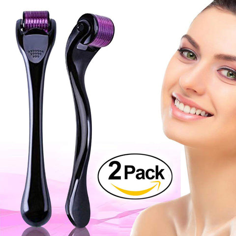 2 Pack Derma roller (0.5mm + 1.0mm) 540 Micro needle Premium Facial Skin[096]