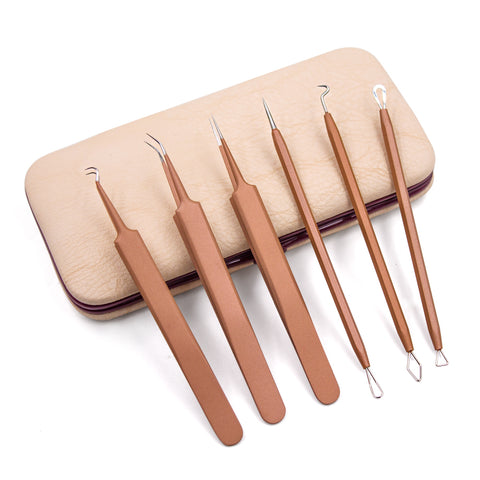 New 6 Pcs Blackhead Acne Removal Extractor Stainless Blemish Whitehead Makeup Beauty Tools [19006]