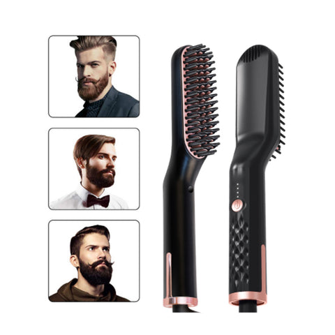 New Hair Straightening Brush Beard Straightener Brush 3 in 1 Ionic Straight [19120]