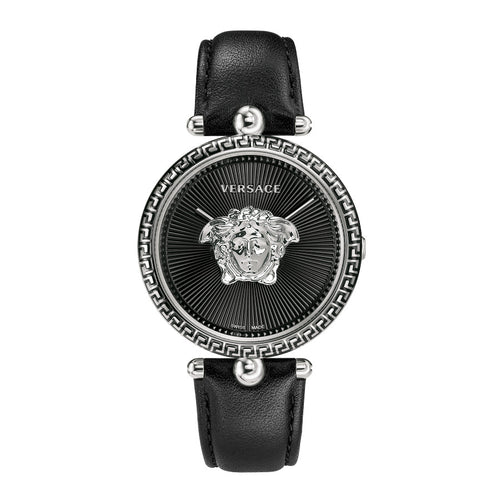 Versace Palazzo Empire Steel Case Leather Strap Black Dial