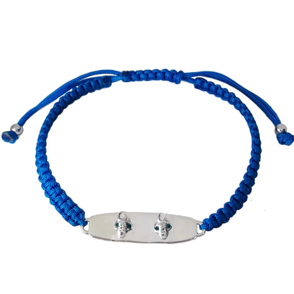 Sterling Silver Wakeboard Bracelet Thick Blue