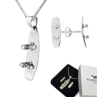 Sterling Silver Wakeboard Pendant & Earrings w/ Sterling Silver Chain