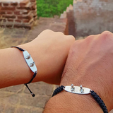 Sterling Silver Wakeboard Bracelet Thick Black