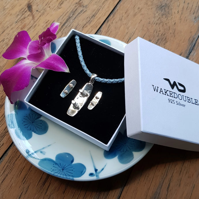 Sterling Silver Wakeboard Pendant & Earrings w/ Blue Braided Necklace
