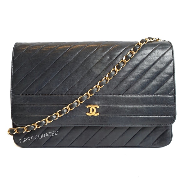 Chanel Navy Blue Vintage Flap with Diagonal Quilting