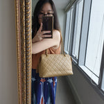 Load image into Gallery viewer, Chanel Beige Quilted Zippered Purse