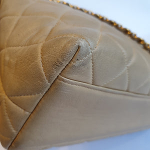 Chanel Beige Quilted Zippered Purse