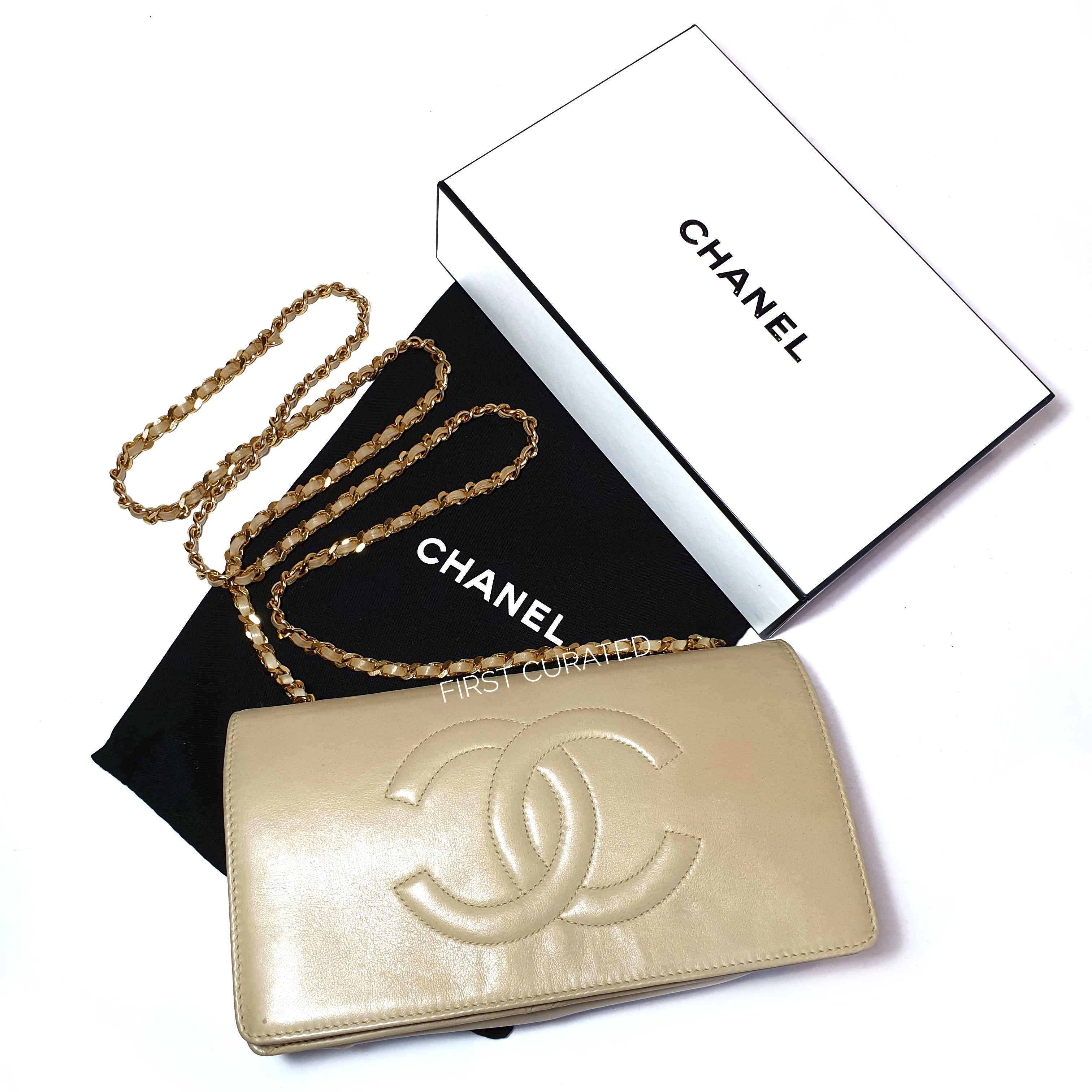 Chanel Vintage Beige WOC with Logo