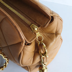 Chanel Tan Shoulder Purse with Ball Charm Accent
