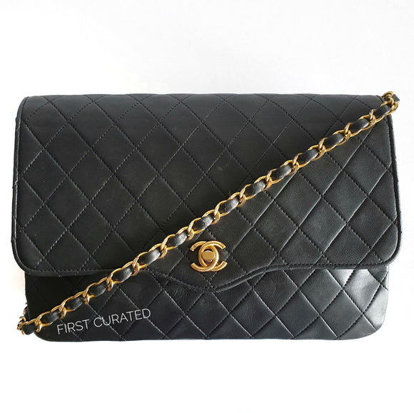 Chanel Black Lambskin Curved Flap Bag