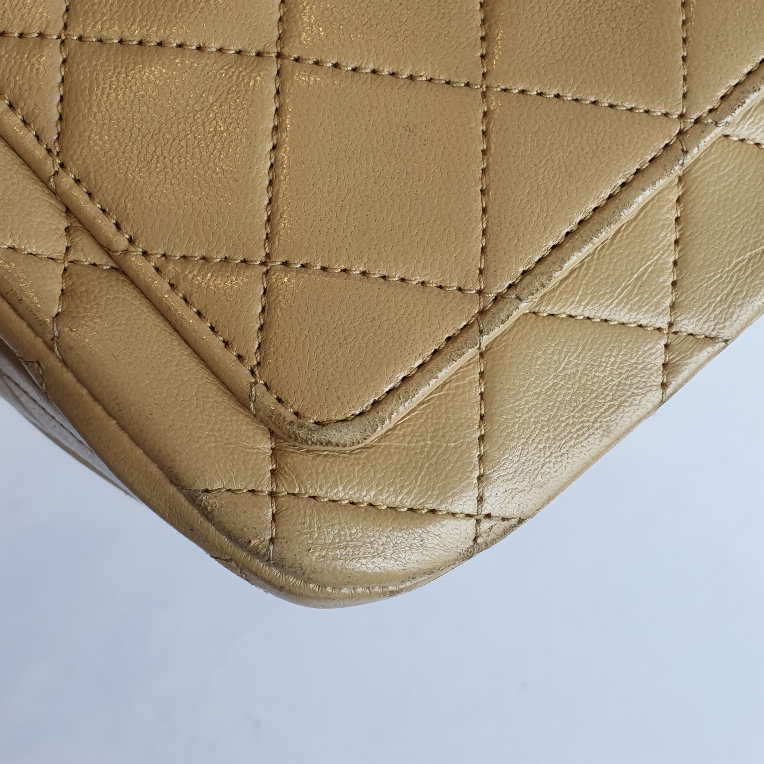 Chanel Beige Quilted Lambskin Full Flap Bag