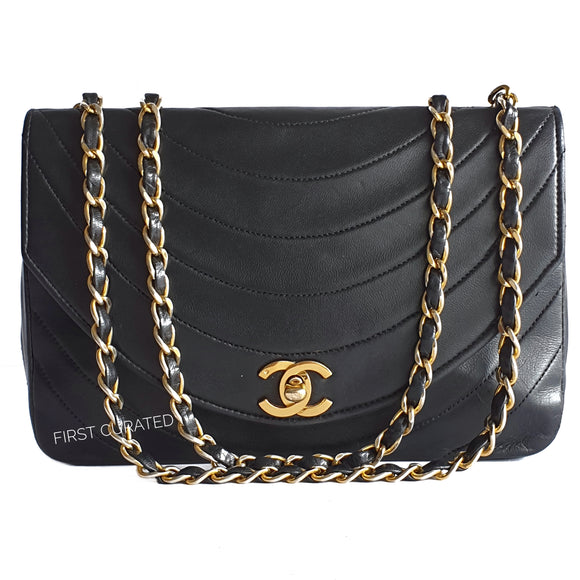 Chanel Black Lambskin Sling with Curved Quilting
