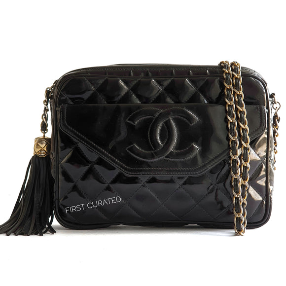 Chanel Black Patent Shoulder Bag with Tassel