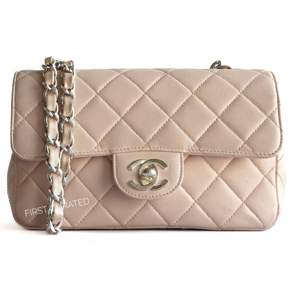 Chanel Pale Pink Lambskin Rectangular Mini Bag
