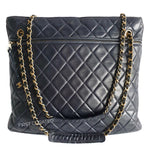 Load image into Gallery viewer, Chanel Navy Blue Lambskin Shoulder Tote
