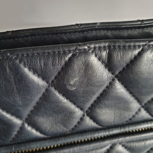 Chanel Navy Blue Lambskin Shoulder Tote