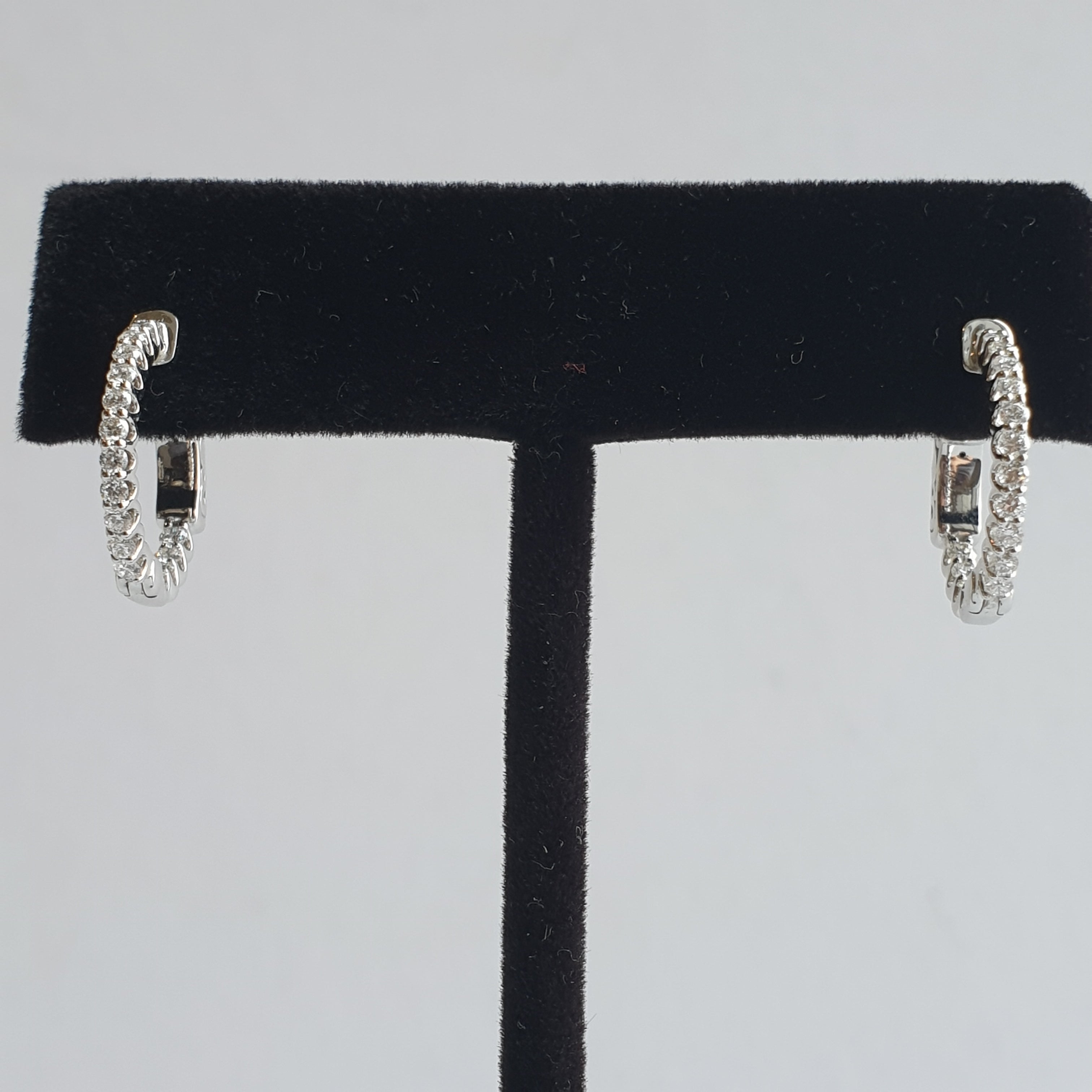 Hoop Earrings with Inside and Outside Diamonds, 18k White Gold