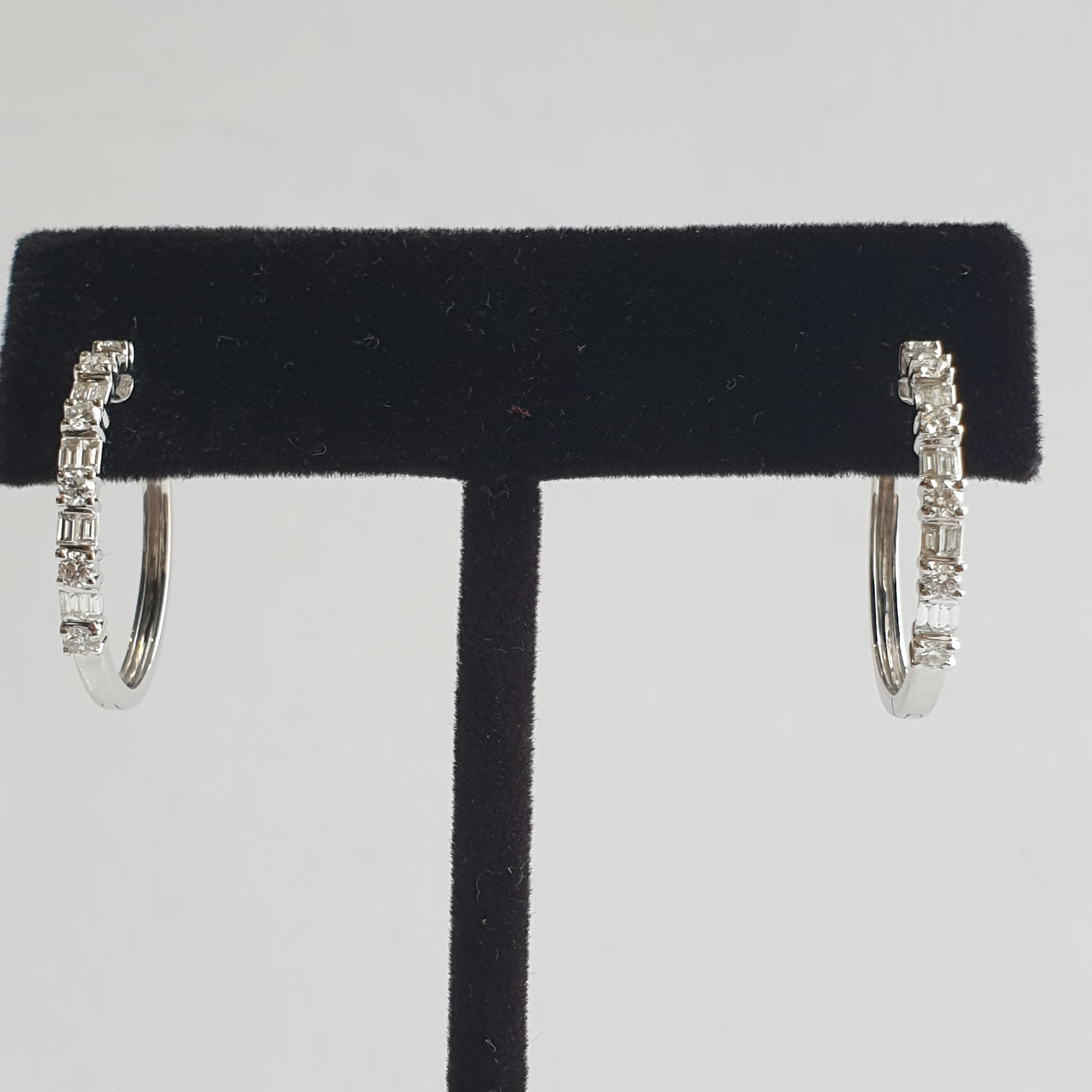 Hoop Earrings with Tapered and Round Diamonds, 18k White Gold
