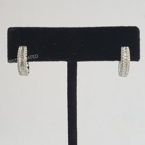 Creole Earrings with Baguettes, 18k White Gold