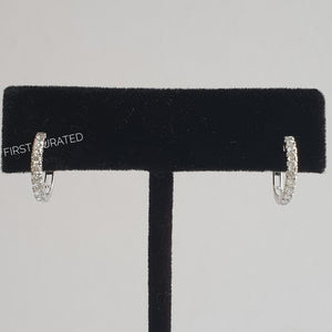 Minimalist Hoop Earrings, 18k White Gold