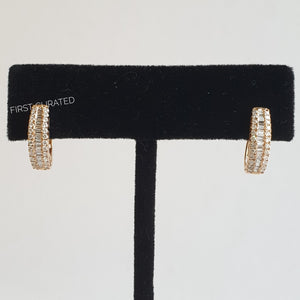 Creole Earrings with Baguettes, 18k Yellow Gold