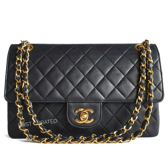 Chanel Quilted Black Lambskin Flap
