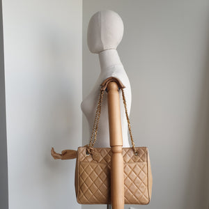Chanel Tan Quilted Shoulder Tote
