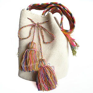 Waayu Cream Sling Bag with Colored Strap and Tassels