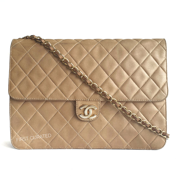 Chanel Tan Straight Flap Shoulder Bag