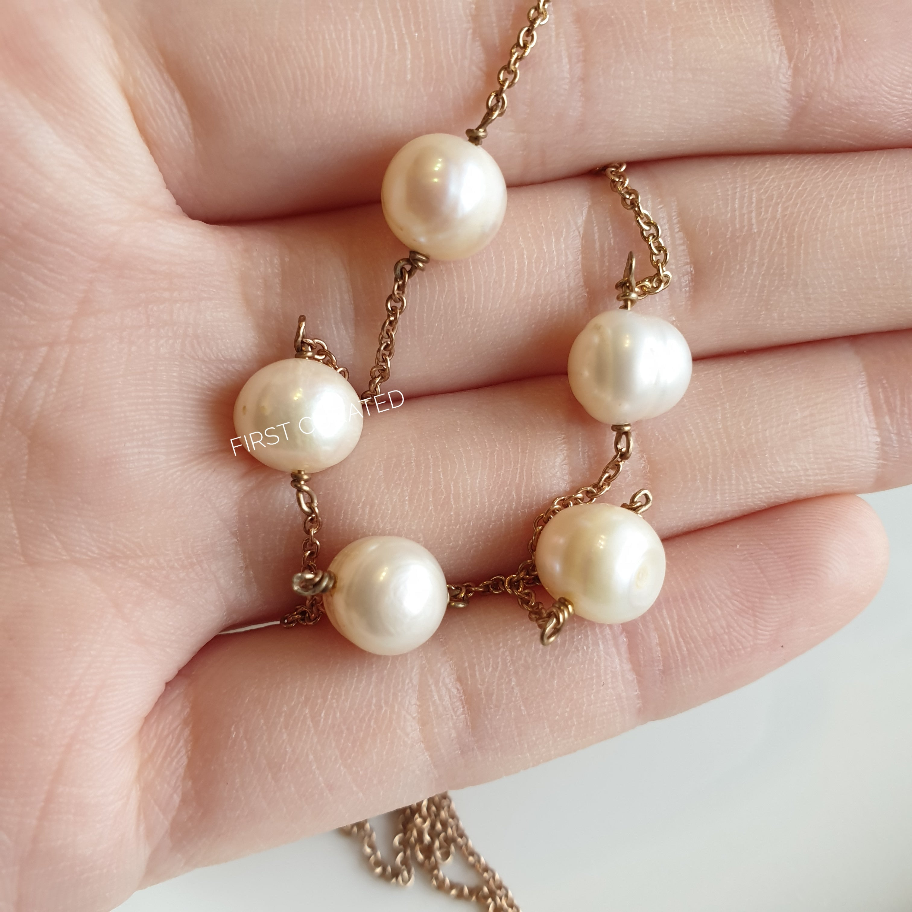 The Louise: Rose Gold-toned Necklace with Five Freshwater Pearls