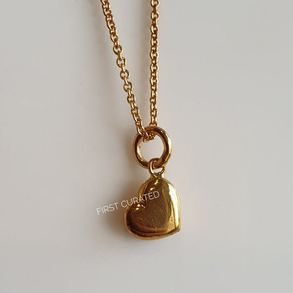 The Maxine: Yellow Gold-Toned Necklace with Heart Pendant