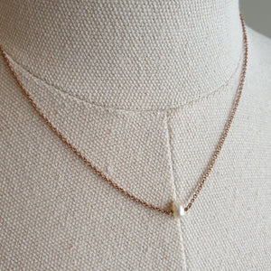 The Mathilde: Rose Gold-toned Necklace with Freshwater Pearl Pendant