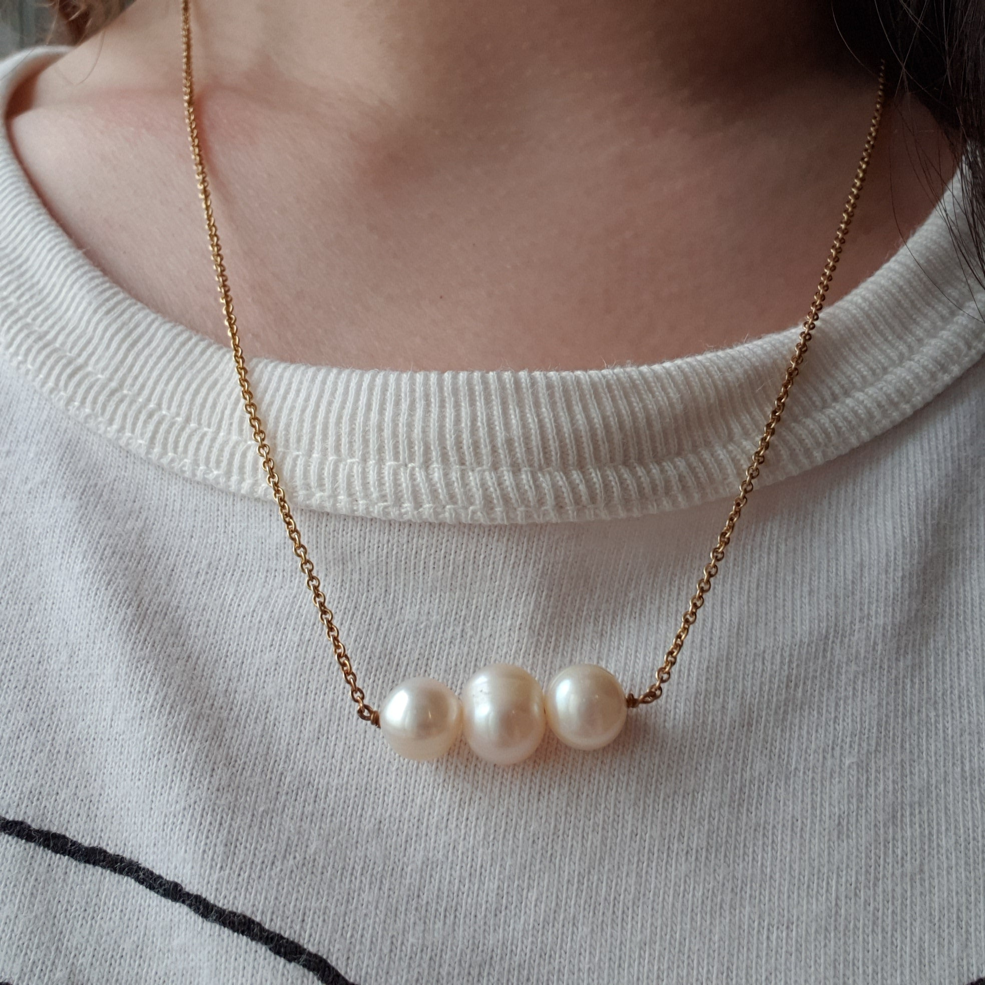The Vionnet: Yellow Gold-Toned Necklace with Three Freshwater Pearls