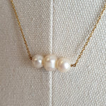 Load image into Gallery viewer, The Vionnet: Yellow Gold-Toned Necklace with Three Freshwater Pearls
