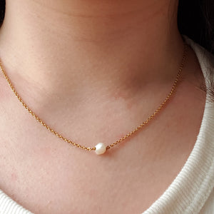 The Mathilde: Gold Necklace with Freshwater Pearl Pendant