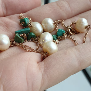 The Imogen: Rose Gold-Toned Necklace with Freshwater Pearls and Turquoise-Hued Beads