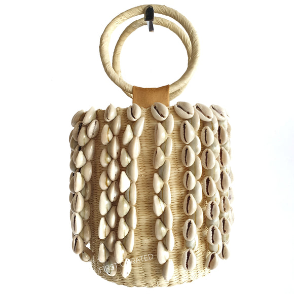 Sensi Studio Woven Handbag with Shells