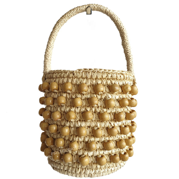 Sensi Studio Woven Handbag with Wooden Beads