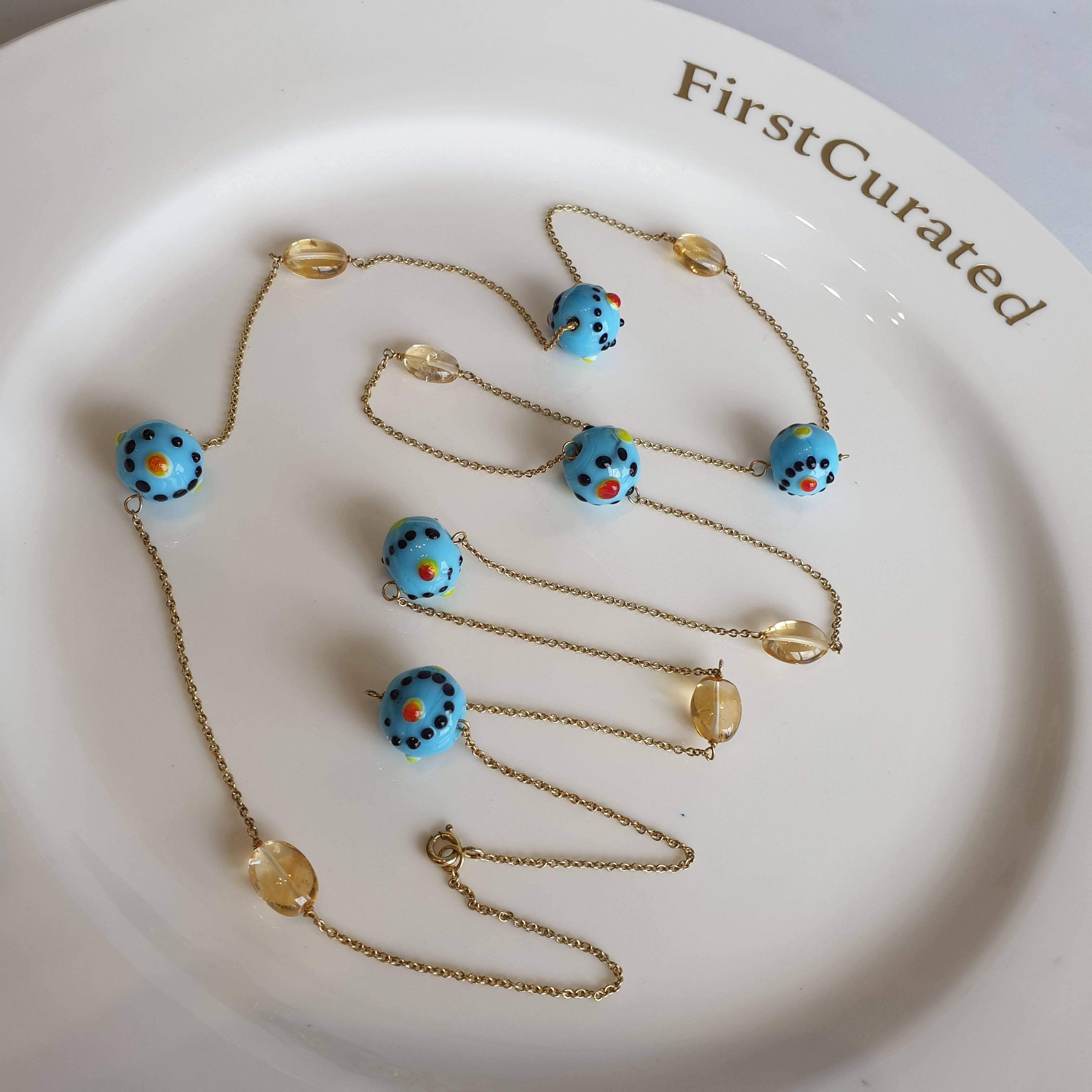 The Odette: Yellow Gold-Toned Necklace with Blue & Orange Glass Beads