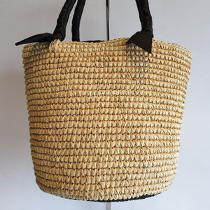 Sensi Studio Woven Handbag with Black Handles