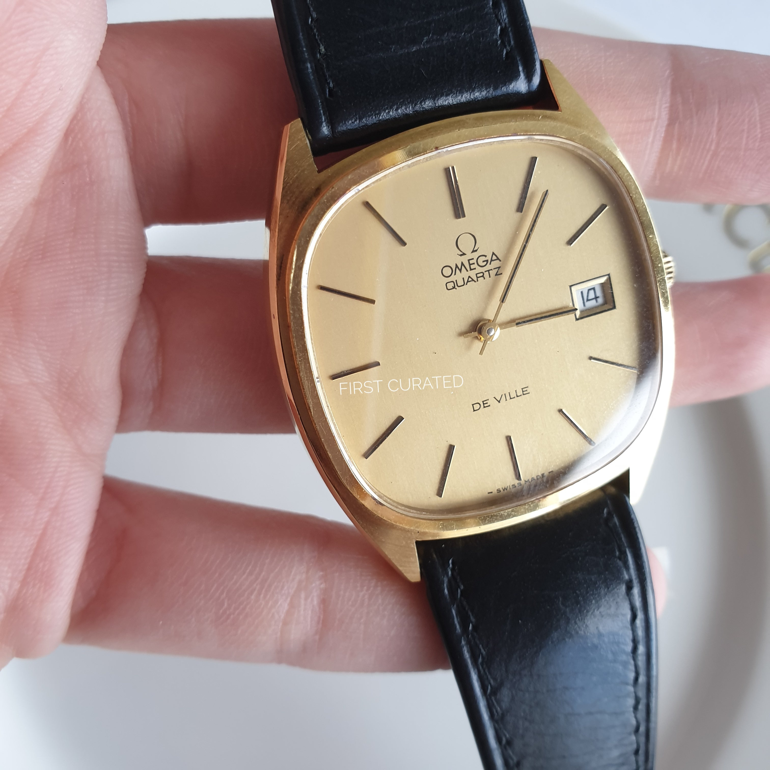 Omega Black Leather Gold-toned Watch