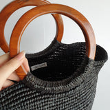 Sensi Studio Black Woven Tote with Wooden Handles
