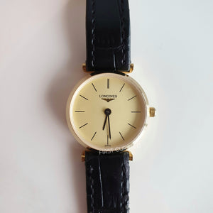 Longines Gold-Toned Watch with Black Leather Strap