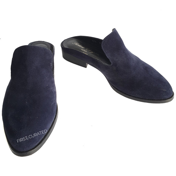 Robert Clergerie Navy Blue Suede Mules, size 37.5