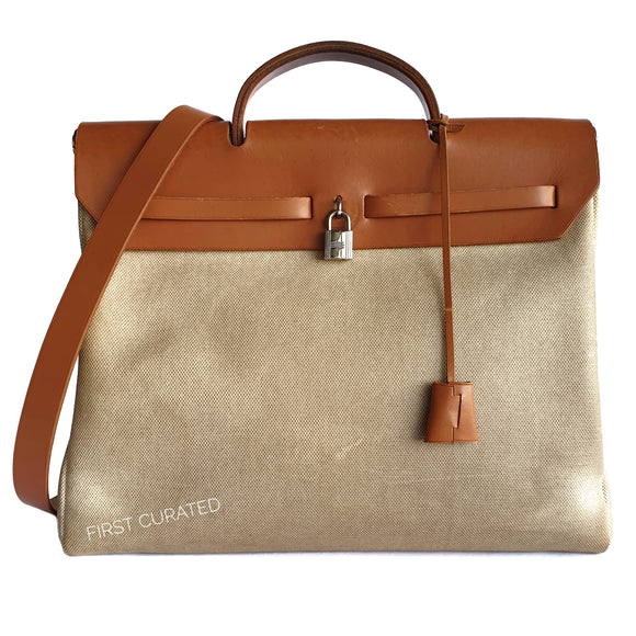 Hermès Tan Leather Cream Canvas Herbag