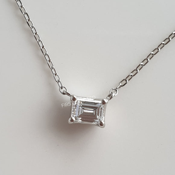 Emerald-Cut Diamond Necklace in Platinum